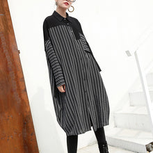 Load image into Gallery viewer, women black linen dresses Loose fitting linen clothing dresses top quality patchwork striped cotton clothing