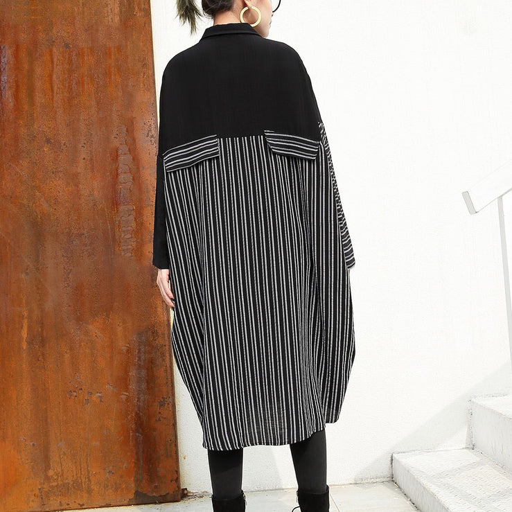 women black linen dresses Loose fitting linen clothing dresses fine patchwork striped cotton clothing
