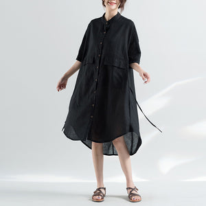 women black natural cotton dress oversize clothing dresses 2018 half sleeve Stand natural cotton dress