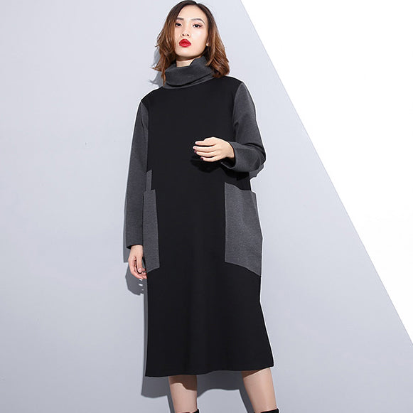 women black oversize traveling clothing patchwork vintage high neck side open clothing dress