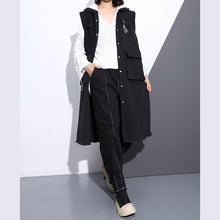 Load image into Gallery viewer, women black pure cotton blouse plus size Turn-down Collar pockets traveling blouse vintage Sleeveless zippered cotton tops