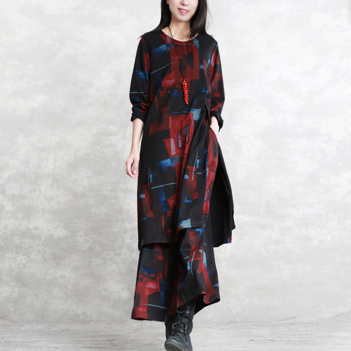 women black red print pure cotton blended two picese plus size New long sleeve asymmetrical design o neck and baggy pants