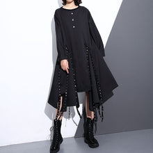 Load image into Gallery viewer, women black silk cotton maxi dress plus size O neck baggy silk cotton clothing dress boutique asymmetrical design autumn dress