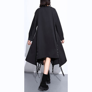 women black silk cotton maxi dress plus size O neck baggy silk cotton clothing dress boutique asymmetrical design autumn dress