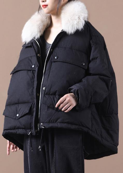 women black warm winter coat plus size parka faux fur collar drawstring Elegant coats