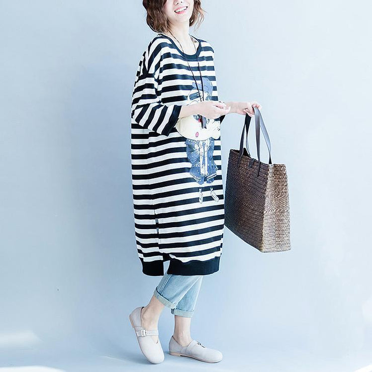 women black white striped cotton dresses plus size cotton clothing dress women side open striped clothing dress