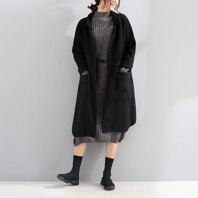 women black wool coat plus size trench coat fall Square Collar tie waist