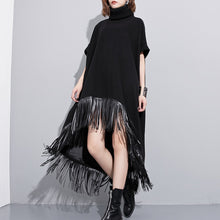 Afbeelding in Gallery-weergave laden, women black wool polyester dresses plus size low high design clothing dress Fine tassel maxi dresses