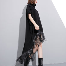 Load image into Gallery viewer, women black wool polyester dresses plus size low high design clothing dress Fine tassel maxi dresses