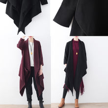 Load image into Gallery viewer, women black woolen coat plus size clothing long coats boutique trench coat