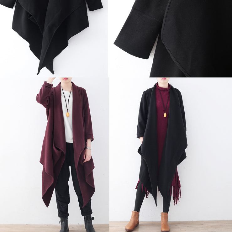women black woolen coat plus size clothing long coats boutique trench coat