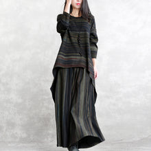 Load image into Gallery viewer, women blackish green striped cotton blended tops casual baggy pants casual long sleeve o neck asymmetric brief two pieces