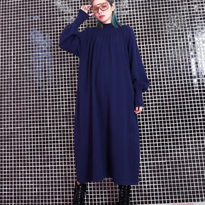 women blue fall casual stand collar traveling dress 2018 pockets baggy dresses