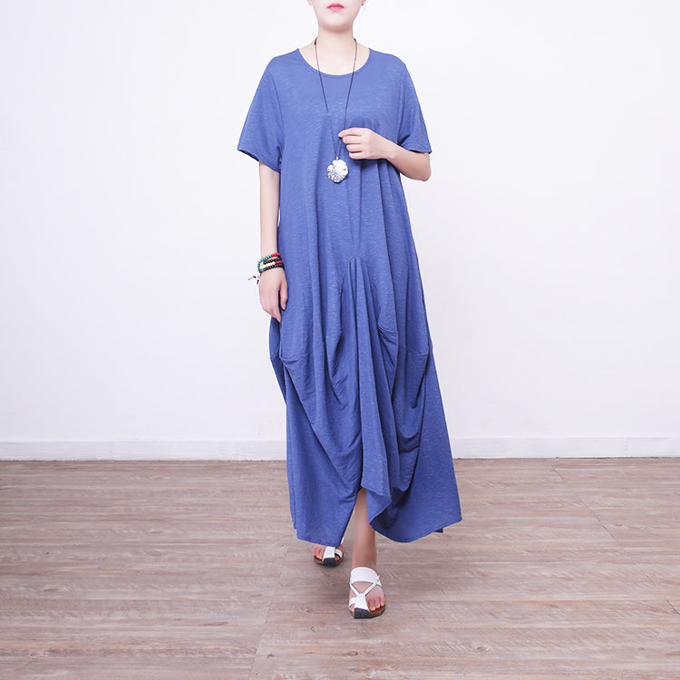 women blue linen maxi dress oversize o neck linen maxi dress 2018 asymmetric kaftans