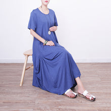 Load image into Gallery viewer, women blue linen maxi dress oversize o neck linen maxi dress 2018 asymmetric kaftans