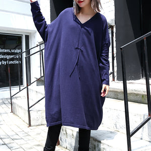 women blue plus size casual baggy dresses 2018 V neck drawstring cotton blended dress