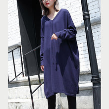 Load image into Gallery viewer, women blue plus size casual baggy dresses 2018 V neck drawstring cotton blended dress