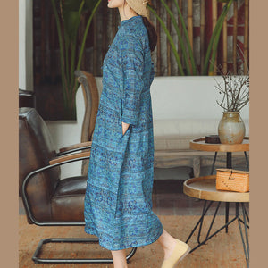 women blue print Midi-length cotton linen dress trendy plus size cotton linen dresses Stand natural cotton linen dress