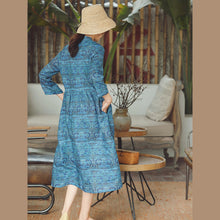 Load image into Gallery viewer, women blue print Midi-length cotton linen dress trendy plus size cotton linen dresses Stand natural cotton linen dress