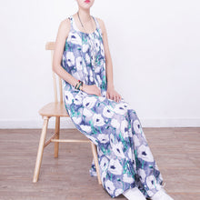 Load image into Gallery viewer, women blue prints cotton caftans casual big hem caftans New sleeveless kaftans
