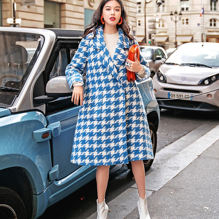 women blue white Plaid Wool Coat casual Notched long coat boutique pockets long coats