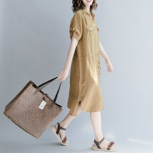 women brown linen dress oversize linen dress boutique short sleeve pockets Turn-down Collar linen dress
