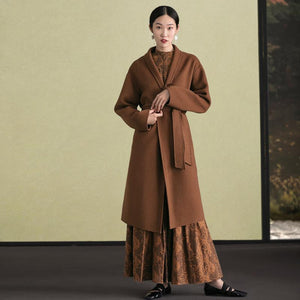 women brown woolen overcoat oversized stand collar winter coat tie waist jackets