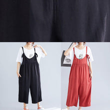 Load image into Gallery viewer, women casual cotton black jumpsuit plus size loose straps wide leg pants