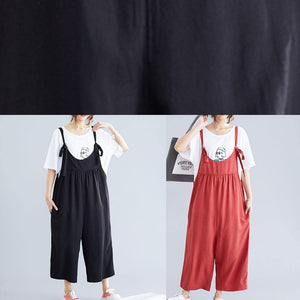 women casual cotton black jumpsuit plus size loose straps wide leg pants