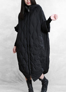 women casual down jacket overcoat black hooded zippered goose Down coat