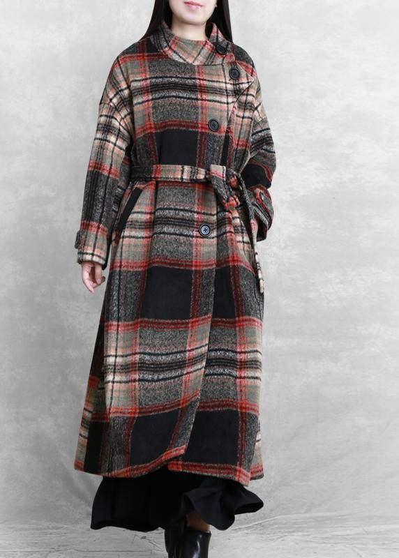 women casual long jackets  women coats black plaid tie waist asymmetric Woolen Coat
