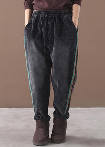 women casual loose black pants patchwork elastic waist wild trousers