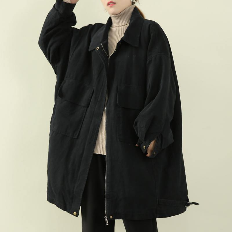 women casual warm winter coat black lapel zippered coat