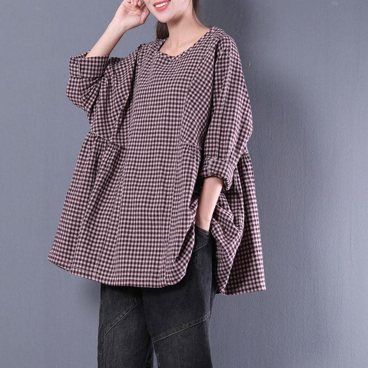 women cotton blended blouse plus size Casual Round Neck Long Sleeve Spring Loose Shirt