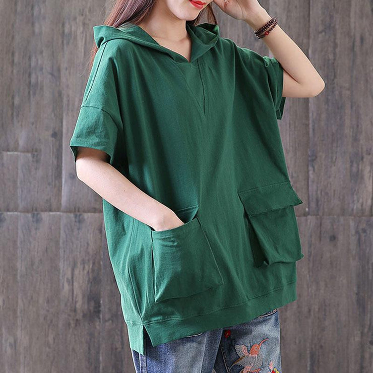 women cotton blouse oversized Casual Hooded Short Sleeve Pullover Cotton Green Tops