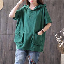 Load image into Gallery viewer, women cotton blouse oversized Casual Hooded Short Sleeve Pullover Cotton Green Tops
