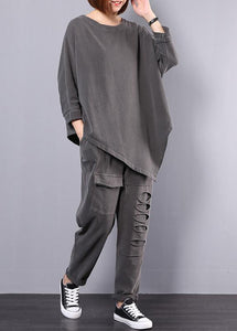 women cotton gray asymmetric tops and big pockets sport pants two pieces