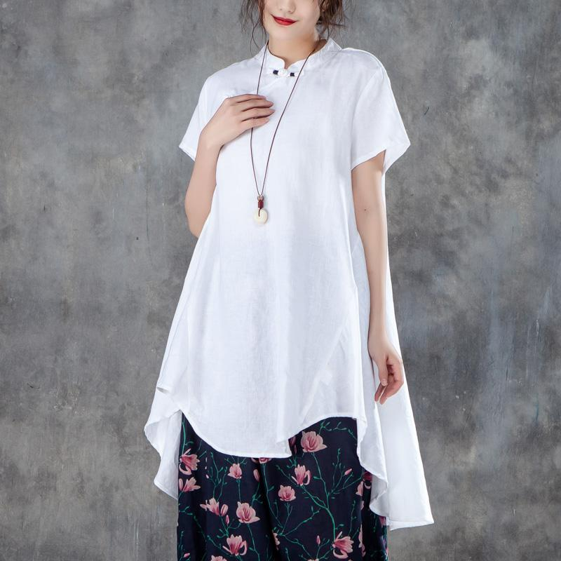 women cotton shirts plus size Stand Collar Short Sleeve Irregular Women White Tops