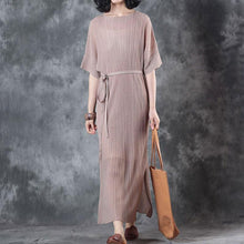 women cotton tops Loose fitting Lacing Knitting Dress Beige Two Pieces With Suspenders