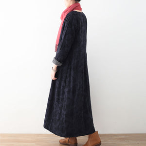 women dark blue cotton jackets casual Winter coat fine long jackets