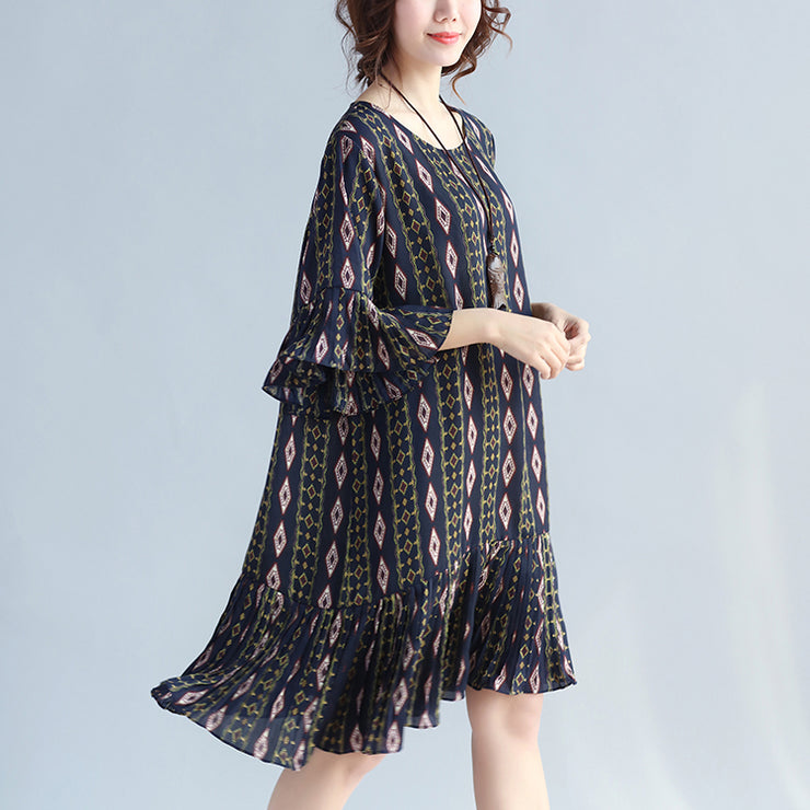 women dark blue prints chiffon dresses trendy plus size chiffon maxi dress Elegant ruffles hem ruffles sleeve cute chiffon dress