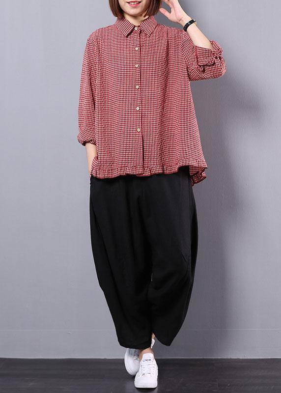 women fall cotton linen two pieces red plaid lapel collar shirt and black harem pants