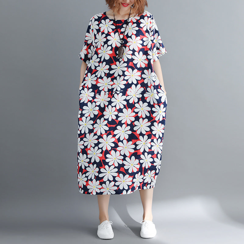 women floral cotton dresses oversized o neck cotton maxi dress boutique baggy dresses caftans