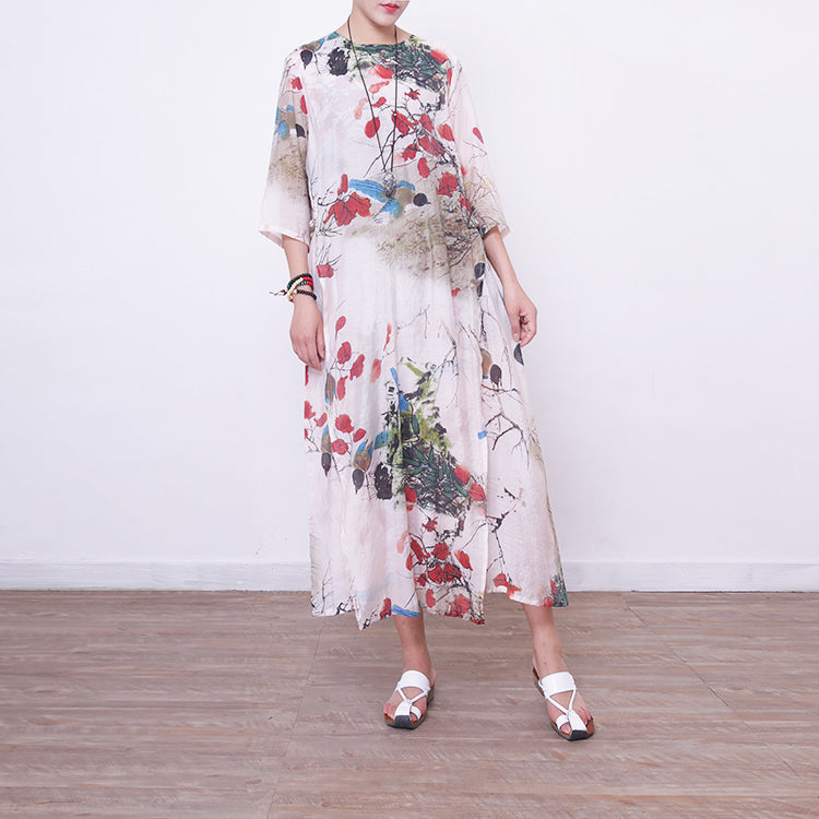 women floral maxi dress casual bracelet sleeved gown women o neck gown