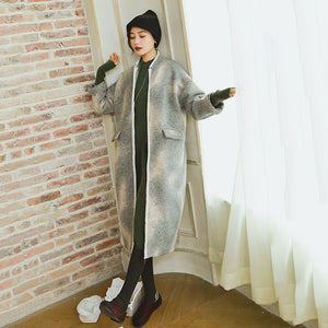 women gray coats plus size patchwork Wool Coat Fashion long sleeve coat