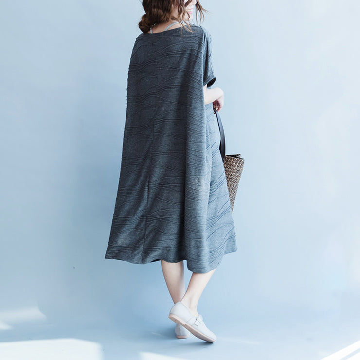 women gray cotton dresses oversize o neck cotton dresses boutique short sleeve caftans