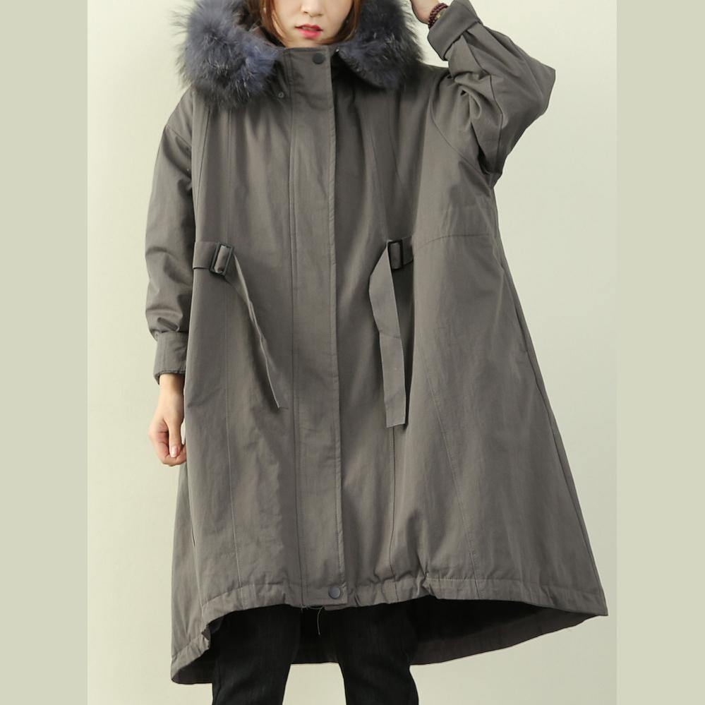 women gray winter outwear casual hooded faux fur collar outwear