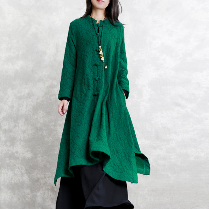 women green Wool blended Coat Loose fitting Stand asymmetric outwear boutique long sleeve pockets large hem trench coat