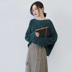 women green knit tops oversized O neck baggy knitted tops women batwing Sleeve winter sweaters
