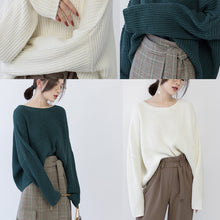 Load image into Gallery viewer, women green knit tops oversized O neck baggy knitted tops women batwing Sleeve winter sweaters